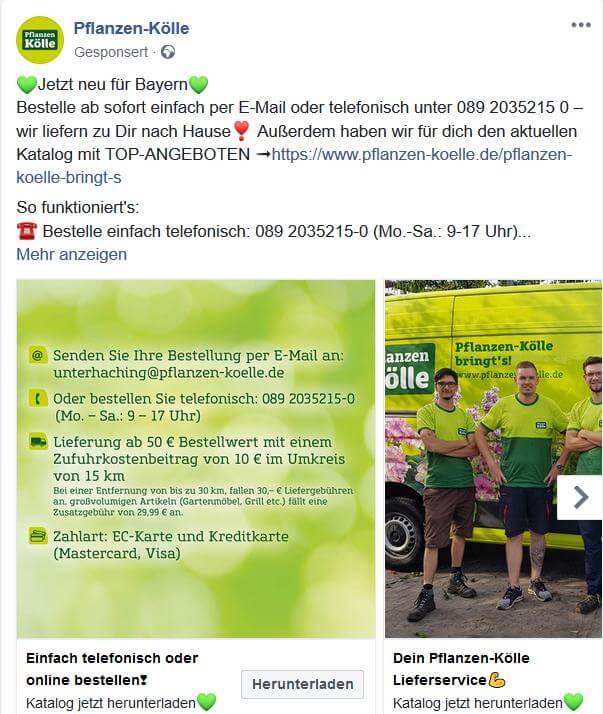 Pflanzen Kölle Facebook Ads