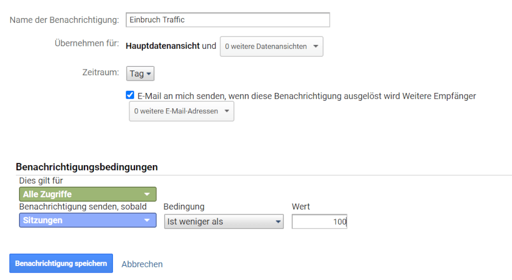Beispiel für benutzerdefinierte Benachrichtung in Google Analytics