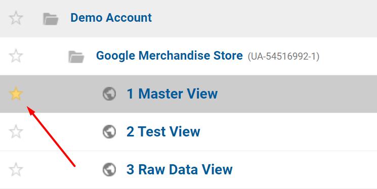 Favoriten-Funktion in Google Analytics