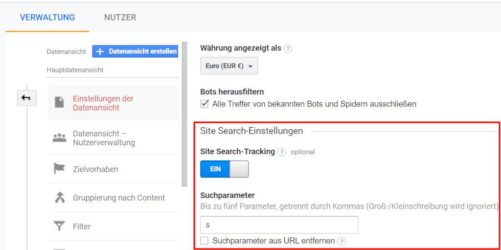 Site Search Aktivierung in Google Analytics